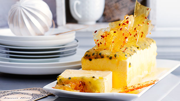 Mango and passionfruit parfait with chilli glass
