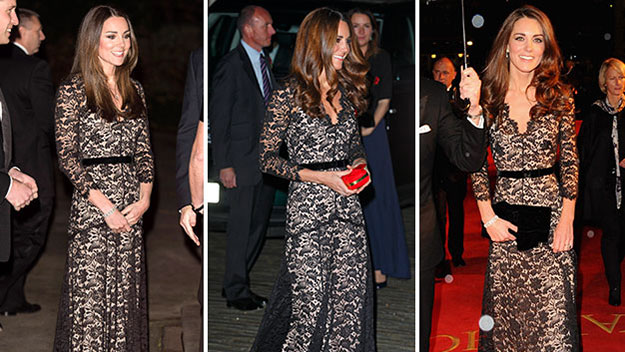 Kate in January 2012, November 2012 and last night.