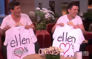 Ellen gave the brothers their own T-Shirts especially from her.