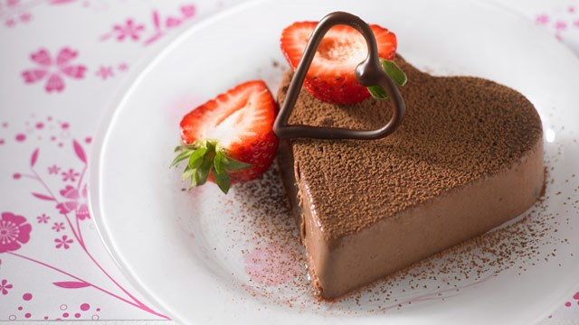 Chocolate heart panna cotta