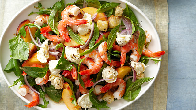 how to cook peaches and prawn