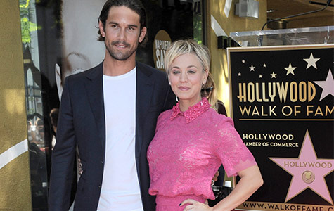 Kaley Cuoco accepts her star on the Hollywood Walk of Fame and cuddles up to her husband Ryan Sweeting.