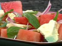 Watermelon, mint, lime and fetta salad