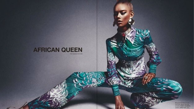 Magazine under fire for 'blacking up' white model to portray 'African Queen'