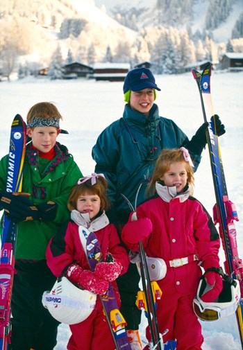 William, Harry, Beatrice and Eugenie skiing in Klosters in 1995.