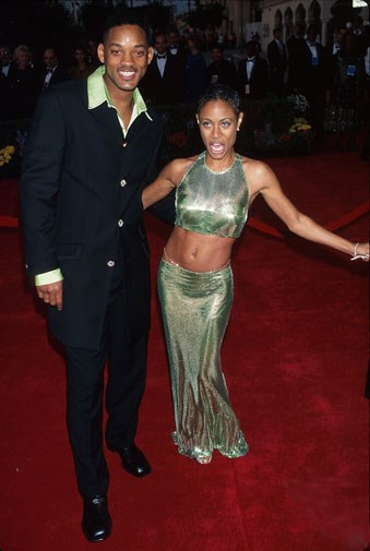 Will Smith's wife Jada showed off her midriff in spangled green in 1997.