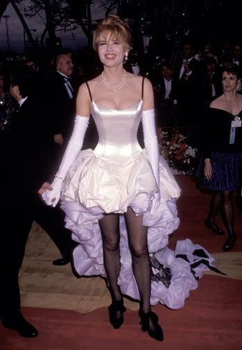 Geena Davis in a mullet dress and white satin gloves in 1992.