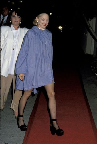 Madonna experimented with a denim smock in 1992.