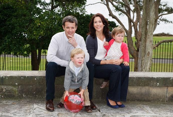 The family pose in Sydney in September 2008.
