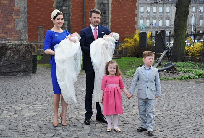 The family at the twins' christening in April 2011.