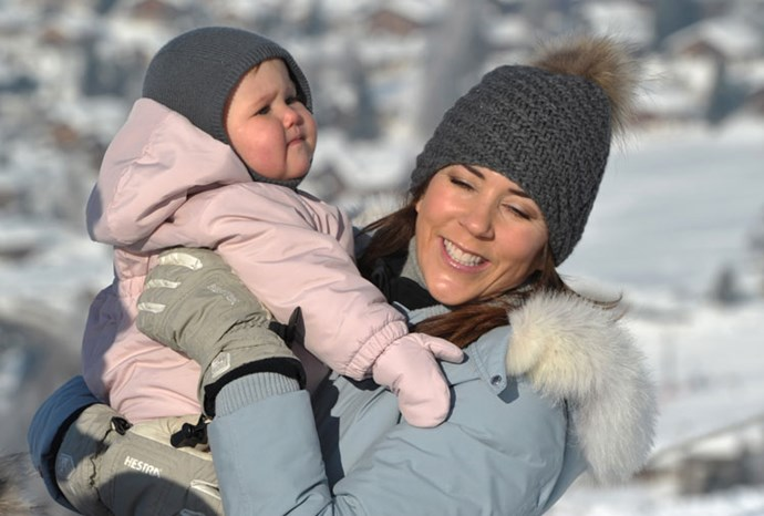 Mary with her daughter Josephine skiing in February 2012.