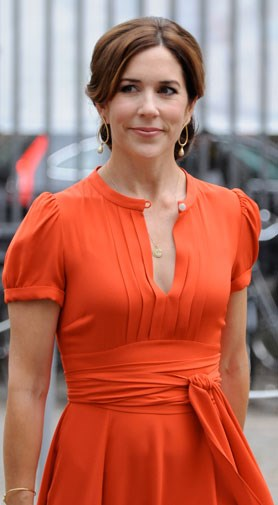 Mary looking lovely in orange in August 2012.