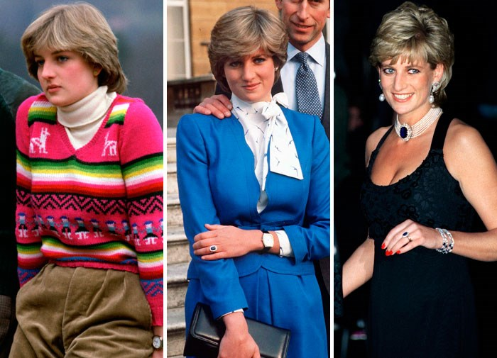 Diana before her marriage in 1980, announcing her engagement in 1981 and out in 1995.