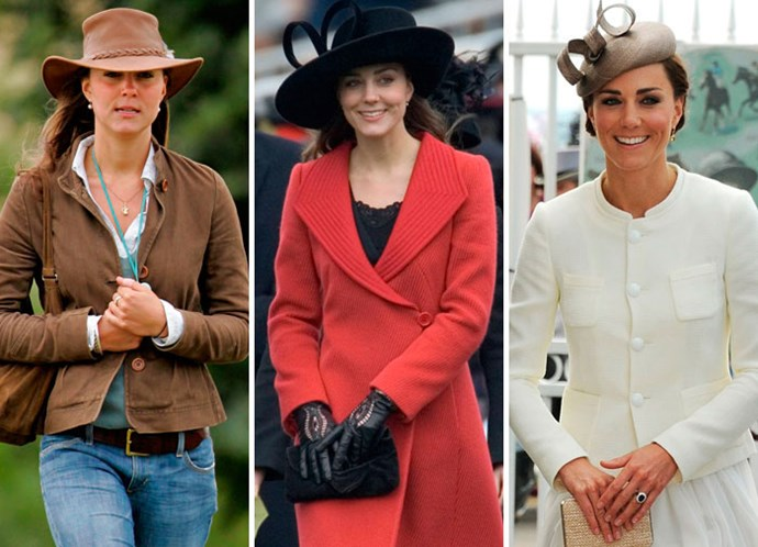 Kate Middleton in 2005, at Sandhurst in 2006 and at the races in 2011.