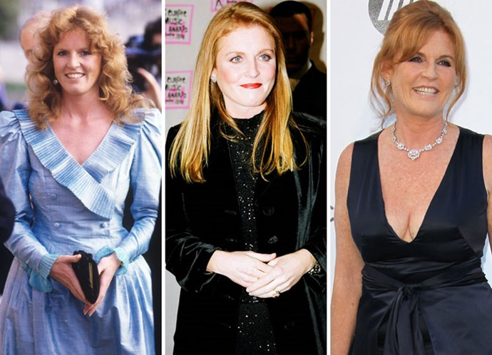 Sarah Ferguson before her wedding in 1986, single in 1998, and out in 2011.