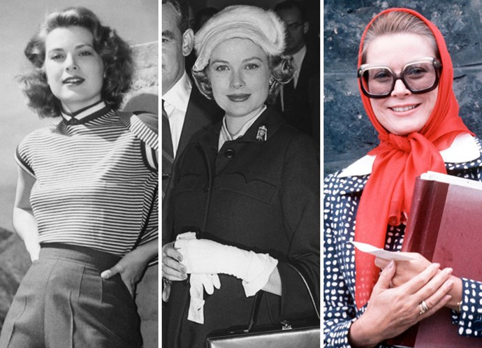 Grace Kelly as a movie star in 1950, a young princess in 1958 and an older royal in 1979.