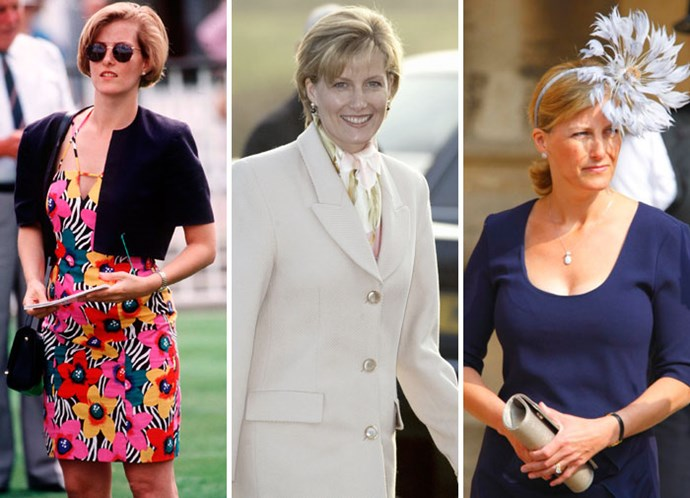 Prince Edward's wife Sophie in 1995, after her marriage in 2002 and out in April 2011.