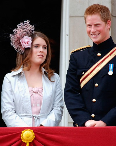 Prince Harry and Eugenie share a joke at the Trooping of the Colour in 2006.