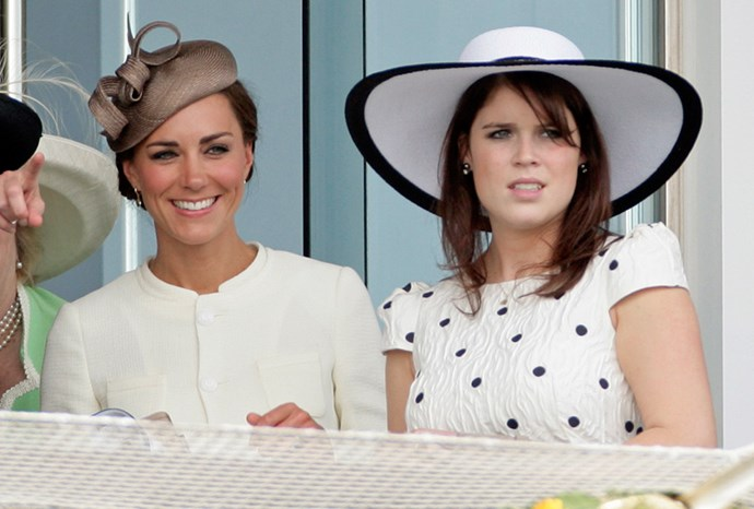 Eugenie with Kate Middleton at Derby Day in June this year.