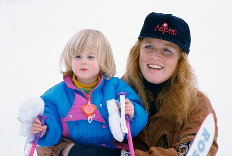 Fergie and Beatrice in Klosters in 1991.