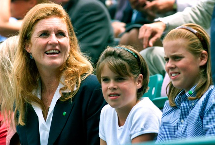 Fergie, Beatrice and Eugenie at a tennis match at Buckingham Palace in 2000.