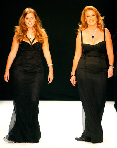 Beatrice and Fergie walk in the Fashion for Relief show in 2007.