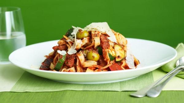 Tagliatelle with tomato, olives and chorizo