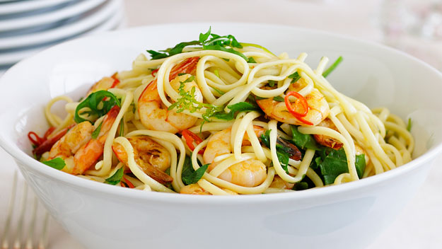 Chilli prawn linguine recipe australian women 39 s weekly for Prawn and spaghetti recipe