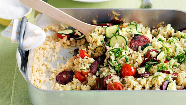 Baked risotto with chorizo and cherry tomatoes