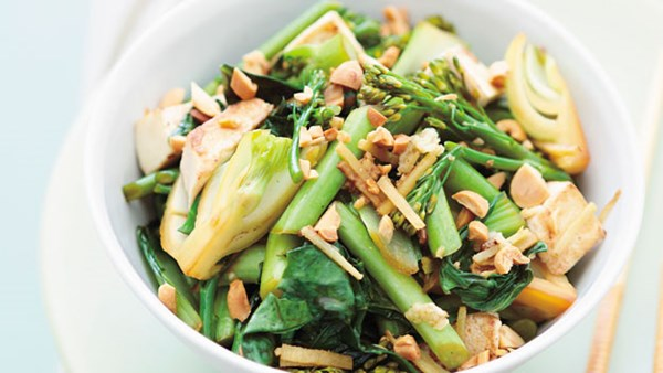 Stir-fried Asian greens with tofu
