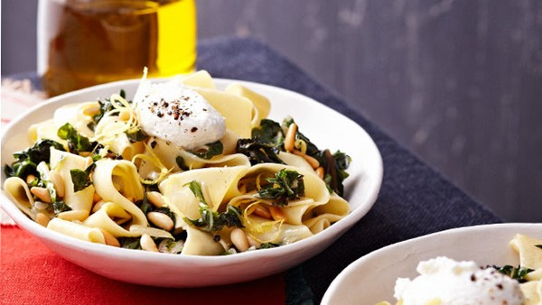 Pappardelle with silverbeet, goat cheese, chilli and lemon