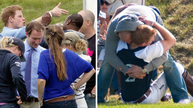 Prince Harry wrestles cousin's fiance at polo