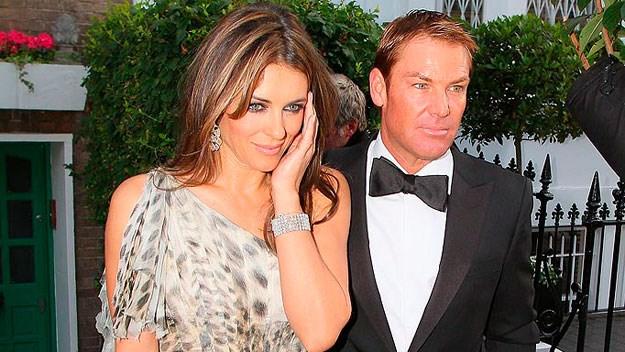 Shane Warne and Liz Hurley on their way to Elton John's White Tie and Tiara ball