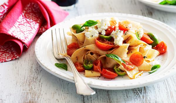 Pappardelle with tomatoes, basil and ricotta recipe | Food To Love