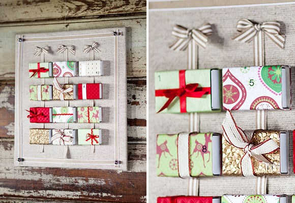 Make your own Advent calendar:**You will need:** Scissors, fabric, foamcore or thick cardboard, assorted ribbon, push pins, 12 matchboxes, a ruler, a box cutter, decorative wrapping paper, quick-dry glue, number stencils, a pencil.
