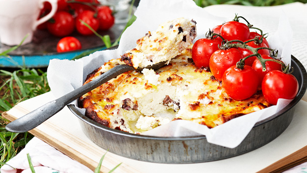 Baked ricotta with olives