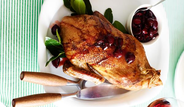 roast duck with cherry sauce recipe food to love