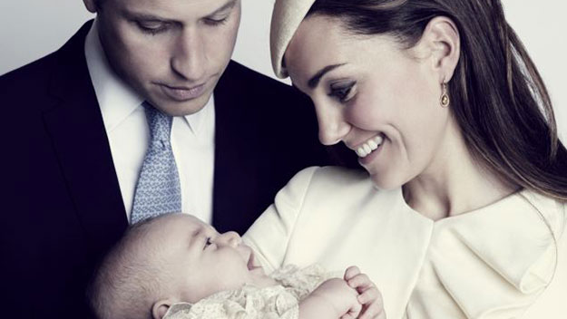 Giggling George smiles at Kate in new portrait