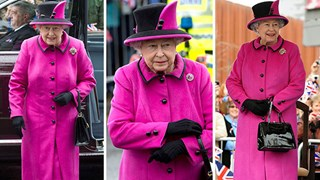 Pretty in pink: Thrifty Queen recycles outfit