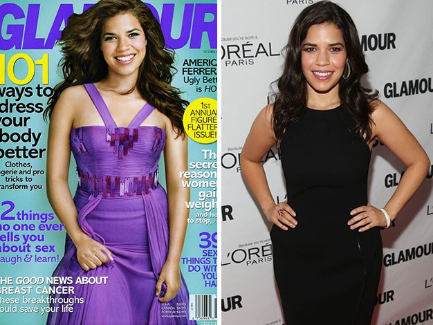 America Ferrera's head looks like it has been cut and pasted from another shot on the cover of Glamour magazine.