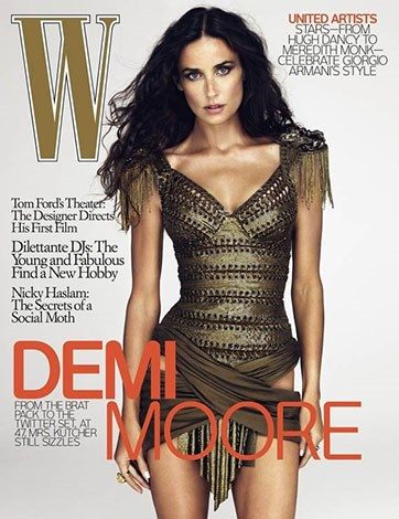 Heavy airbrushing appears to have removed a chunk of Demi Moore's hip in W magazine.