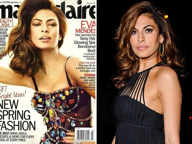 Marie Claire elongated Eva Mendes' neck and airbrushed her face almost beyond recognition.