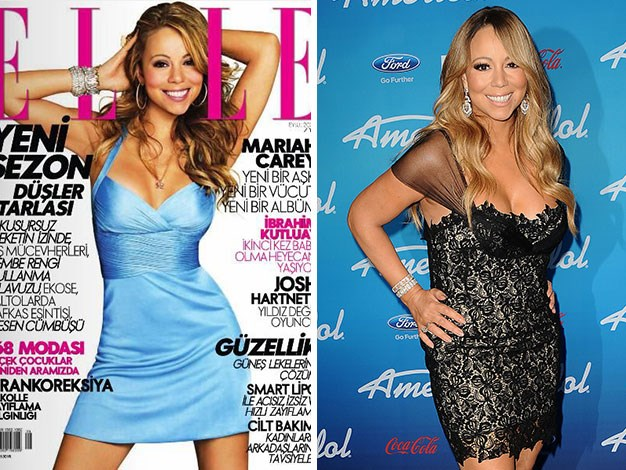 Mariah Carey dropped about three dress sizes thanks to Elle.