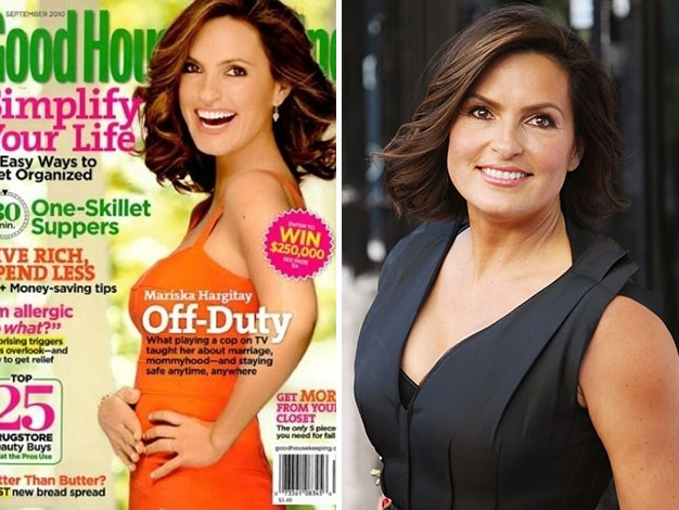 Mariska Hartigay appears stretched and elongated on the cover of Good Housekeeping.
