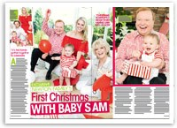 Newton family's first Christmas with baby Sam