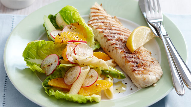 Grilled fish with citrus pasta salad for per serve for Grilled white fish recipes